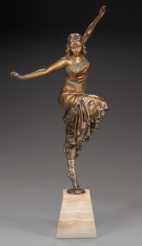 PAUL PHILLIPE PATINATED BRONZE DANCER Circa 1925; Marks: P. PHILIPPE 18-1/2 inches (47.0 cm) high on