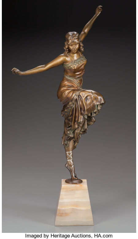 PAUL PHILLIPE PATINATED BRONZE DANCERCirca 1925; Marks: P. PHILIPPE18-1/2 inches (47.0 cm) high on a 4-1/2 inches (1...