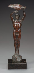 Bronze:European, ART DECO BRONZE FIGURE OF A MALE NUDE FALCONER. Circa 1920. 14-1/4inches (36.2 cm) high. ...