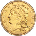 Early Half Eagles, 1834 $5 With Motto, Plain 4, BD-2, R.5 -- Repaired -- PCGS Genuine. AU Details....