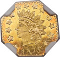 California Fractional Gold , 1875 50C Indian Octagonal 50 Cents, BG-946, R.4, MS66 DeepProoflike NGC....