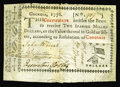 Colonial Notes:Georgia, Georgia 1776 $2 Fine. We've net graded this scarce note, as it is extensively repaired along the right edge and the upper pa...