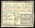 Colonial Notes:Georgia, Georgia 1777 $3 Choice About New. About as close to an uncirculatedexample of this issue that one will likely ever encounte...