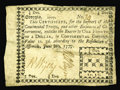 Colonial Notes:Georgia, Georgia June 8, 1777 $1/4 Fine. Serial number 34 graces this notethat has a small repair at center and a repair along the t...