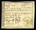 """Colonial Notes:Georgia, Georgia June 8, 1777 $7 Extremely Fine Restored. Interestingly,this note has the red """"in"""" in the fourth line and is Serial ..."""