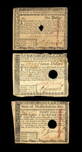 Colonial Notes:Massachusetts , Three 1780 Massachusetts Issues. This group contains an MA- 278 inAbout New, an MA-283 in Fine, and an MA-284 in B