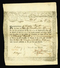 Colonial Notes:Massachusetts, Massachusetts Treasury Certificate Mar. 1, 1781 Very Fine. ThisMA-10 has four old-time repairs....