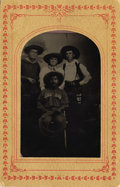 Photography:Tintypes, Sixteenth Plate Tin Type of Two Armed Cowboys & One Cowgirl,ca. 1870s....