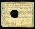 Colonial Notes:New Hampshire, New Hampshire April 29, 1780 $2 Very Fine. Canceled with the normallarge hole and with slightly rounded corners....