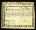 Colonial Notes:New Hampshire, New Hampshire April 29, 1780 $4 Extremely Fine. Here is a scarce,uncancelled example of this tough issue that is quite plea...