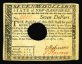 Colonial Notes:New Hampshire, New Hampshire April 29, 1780 $7 About New. Hole canceled butbeautifully margined, incredibly bright and uncirculated save f...