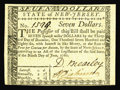 Colonial Notes:New Jersey, New Jersey June 9, 1780 $7 Very Choice New. A near Gem example of a much scarcer guaranteed issued note. It would grade full...