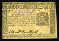 Colonial Notes:New York, New York September 2, 1775 $3 Choice About New. Both the New YorkState Coat of Arms on the Face and the Ten Commandment vig...