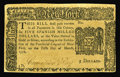 Colonial Notes:New York, New York March 5, 1776 $5 Choice About New. Very well printed andwith good margins all around. The back bears a candelabrum...