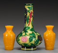 Asian:Chinese, THREE CHINESE PEKING GLASS VASES, late 19th century. 8 inches high(20.3 cm) (largest). ... (Total: 3 Items)