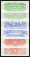 Confederate Notes:Group Lots, Set of Six Chemicograph Backs Intended for Confederate Currency.. ... (Total: 10 items)
