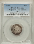 Early Dimes, 1796 10C JR-1, R.3 -- Repaired -- PCGS Genuine. VG Details....