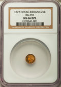 California Fractional Gold , 1872 25C Indian Octagonal 25 Cents, BG-791, R.3, MS66 DeepProoflike NGC....