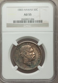 Coins of Hawaii: , 1883 50C Hawaii Half Dollar AU55 NGC. NGC Census: (58/229). PCGSPopulation (65/284). Mintage: 700,000. ...