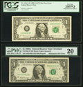 Error Notes:Mismatched Serial Numbers, Mismatched $1 Federal Reserve Note Pair.. ... (Total: 2 notes)