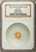 California Fractional Gold: , 1872 25C Indian Octagonal 25 Cents, BG-791, R.3, MS64 ProoflikeNGC. NGC Census: (11/22). ...