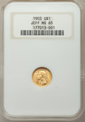 Commemorative Gold: , 1903 G$1 Louisiana Purchase, Jefferson, MS65 NGC. NGC Census:(470/487). PCGS Population (722/631). Mintage: 17,500. Numism...