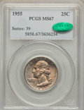 Washington Quarters: , 1955 25C MS67 PCGS. CAC. PCGS Population (29/0). NGC Census:(136/0). Mintage: 18,100,000. Numismedia Wsl. Price for proble...