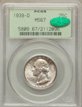 Washington Quarters: , 1939-D 25C MS67 PCGS. CAC. PCGS Population (68/0). NGC Census:(81/0). Mintage: 7,092,000. Numismedia Wsl. Price for proble...