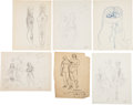 Books:Original Art, Several Pencil and Pen and Ink Sketches for an Adam and Eve Sculpture. Most are either signed or initialed by Williams. ...