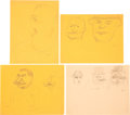 Books:Original Art, Group of Thirteen Caricatures of Political and Historical Figures. Most in pencil; two pen and ink. Subjects include Pre... (Total: 13 Items)