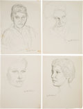 Books:Original Art, Group of Thirteen Portrait Sketches. All measure about 9 x 12 inches. Signed by Williams. Fine.... (Total: 13 Items)