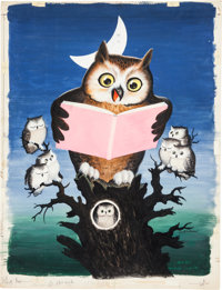 Original Watercolor Art for Let's Read Poster. Measures roughly 20 x 26 inches. S