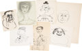 Books:Original Art, Group of Forty-Three Caricature Sketches. Pencil and pen and ink. Various sizes; largest measures 12 x 16 inches. Most are e... (Total: 43 Items)