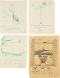Books:Original Art, Group of Eleven Greeting Card Designs. Various sizes; largest measures 7.5 x 10 inches. All are either initialed or signed... (Total: 11 Items)