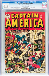 Captain America Comics #38 (Timely, 1944) CGC FN+ 6.5 Slightly brittle pages