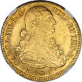 Colombia, Colombia: Charles IIII gold 8 Escudos 1807 NR-JJ MS62 NGC,...