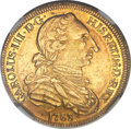 Chile, Chile: Charles III gold 4 Escudos 1763 So-J AU55 NGC,...