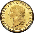 Colombia, Colombia: Republic gold 10 Pesos 1858-P MS64 NGC,...