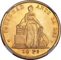 Chile, Chile: Republic gold 10 Pesos 1872 MS63 NGC,...