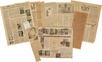 Large Archive of Newspaper Clippings Collected by Williams. 1940s-1970s. Includes reviews of his books and articles a