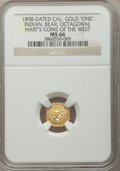 California Gold Charms, 1898 California Indian, Bear, Octagonal One, MS66 NGC. Hart's Coins of the West....