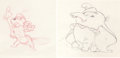 Animation Art:Production Drawing, Dumbo Animation Drawing Group (Walt Disney, 1941)....