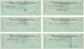 Autographs:Checks, 1959 President John F. Kennedy Signed Checks Lot of 6....