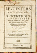 Books:World History, [Parsons, Robert, Thomas Morgan, Thomas Rogers, attribs]. Leycesters Common-wealth: Conceived, Spoken and Published with...