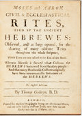 Books:Religion & Theology, Godwin, Thomas. Moses and Aaron. Civil & Ecclesiastical Rites, Used by the Ancient Hebrewes... Wherein Likewise is Shewe...