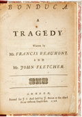Books:Literature Pre-1900, Beaumont, Francis & John Fletcher. Bonduca. ATragedy. London: For J. T., 1718. 4to. A-H4. 64pp. Modernmorocco-...