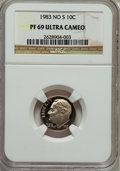 Proof Roosevelt Dimes: , 1983 10C No S PR69 Ultra Cameo NGC. NGC Census: (95/2). PCGSPopulation (137/1). Numismedia Wsl. Price for problem free NG...
