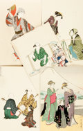 Miscellaneous:Postcards, [Japanese Postcards]. Group of Five with Hand-Coloring. Tokyo: Shimbi Shoin, ca. 1930's. ...