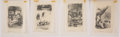 Books:Original Art, Four Drawings for Bread and Butter Journey by Anne Colver. Pencil on tracing paper. Signed by Williams. Meas... (Total: 4 Items)