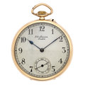 Timepieces:Pocket (post 1900), J.W. Benson 9K Gold 15 Jewel Open Face Pocket Watch. ...